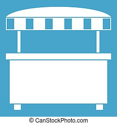 Street stall with awning icon white isolated on blue...