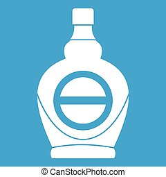 Maple syrup in glass bottle icon white isolated on blue...