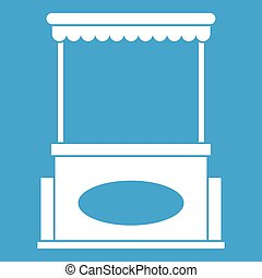 Street kiosk icon white isolated on blue background vector...