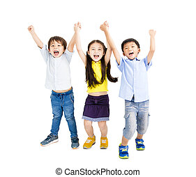 Group of happy smiling kids raise hands