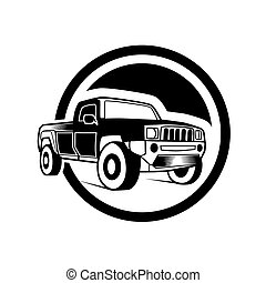 Off-road car on white background. Image of a balck pickup truck in a realistic style. Vector illustration,eps8,ep10