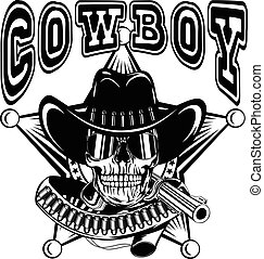 cowboy star var 24 - Vector illustration cowboy skull with...
