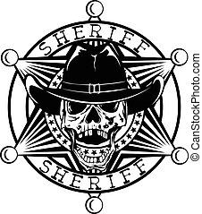 cowboy star var 40 - Vector illustration skull in cowboy hat...