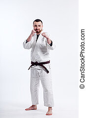sporty man in a kimono