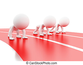 3d White people at starting line - 3d illustration. White...