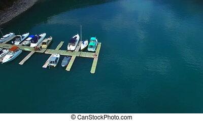 Aerial boats bay big lake