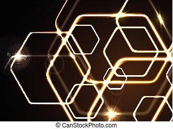 Glowing orange neon vector hexagons background