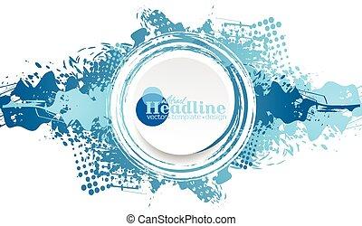 Blue grunge ink blot with white circle