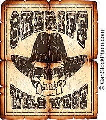 sheriff skull paper - Vector illustration skull in hat on...