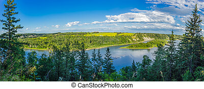 Alberta Landscape near city of Edmonton - North saskatchewan...