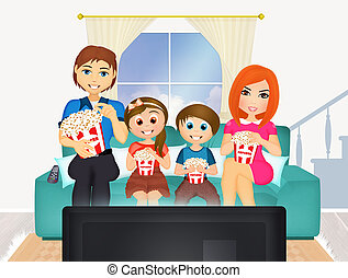 illustration of a family watching movies television at home