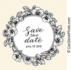 Wedding invitation design template with Save the date text...