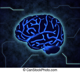 the human brain - The human brain in blue shades with Hud...