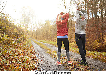 Mature couple staying fit and healty