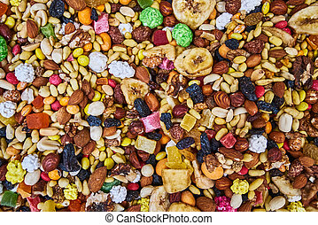 mix of nuts and fruits. tropical trail mix. Nuts and candied...