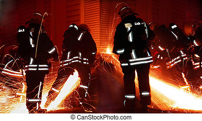 firefighters - Rescuer team at night