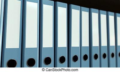 Blue office binders. 3D rendering - The blue office binders....