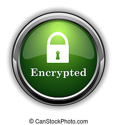 Encrypted icon. Encrypted website button on white background