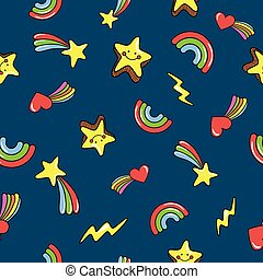 Seamless pattern with cute smiling stars. doodle comets, lightnings, rainbows on deep dark blue background. Vector