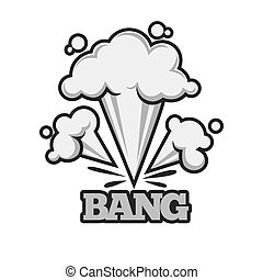 Bang effect with clouds of dust monochrome illustration -...