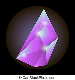 Luminous crystal of crimson color with sharp edges -...