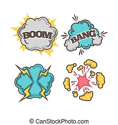 Bang and boom colorful cartoon effects with clouds of dust -...