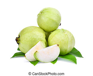 whole and slice guava fruit with green leaf isolated on...
