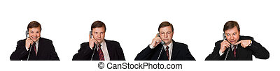 Set of men with phone