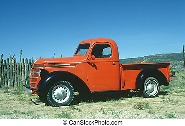Old Red Truck - Full Side view of classic pickup truck