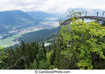 View from above on Garmisch-Partenkirchen, Germany - View...