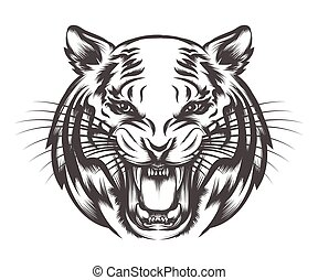 Roaring Tiger face - Roaring Tiger head drawn in tattoo...