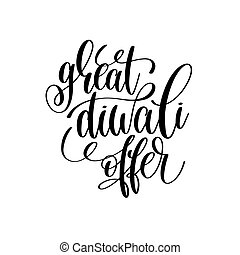 great diwali offer black calligraphy hand lettering text...