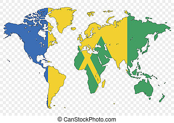 Outline of the World with the Flag of Saint Vincents and the...