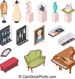 Museum Exhibition Isometric Icons Set - Museum exhibition...