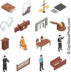Law Justice Isometric Icons Set - Law justice symbols...