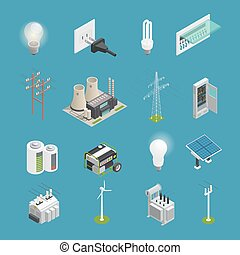 Electricity Power Icons Isometric Collection - Power icons...