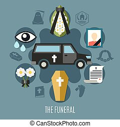 Funeral Concept Set - Funeral concept set with photo flowers...