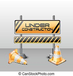 Under construction barrier with road cones - Vector...