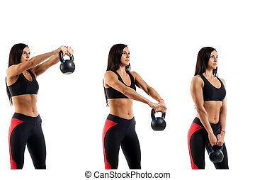 exercise with a weight on the biceps