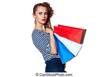 bolsas, compras de mujer, a un lado, mirar, plano de fondo,...