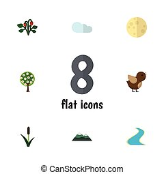 Flat Icon Bio Set Of Cattail, Overcast, Lunar And Other...