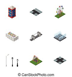 Isometric Urban Set Of Crossroad, Highway, Fountain And Other Vector Objects. Also Includes Intersection, Lanterns, Park Elements.