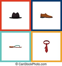 Flat Icon Clothes Set Of Male Footware, Cravat, Panama And Other Vector Objects. Also Includes Hat, Footware, Sandal Elements.