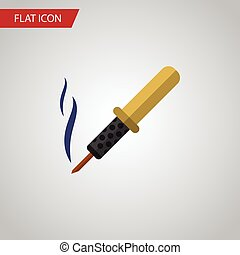 Isolated Soldering Iron Flat Icon. Repair Vector Element Can...