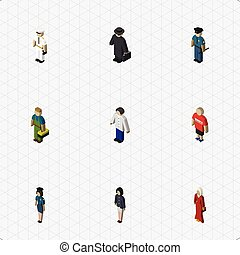Isometric Human Set Of Male, Female, Seaman And Other Vector Objects. Also Includes Policeman, Guy, Police Elements.