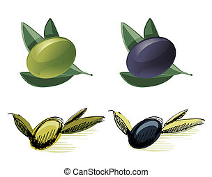 Green and black olives - Vector illustrations of green and...