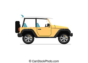 Off road jeep isolated vector icon