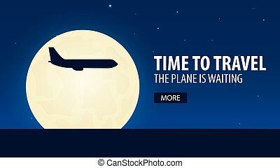 Time to travel. Plane is waiting. Vector illustration. -...