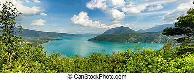 View of the Annecy lake in the french Alps - a view of the...