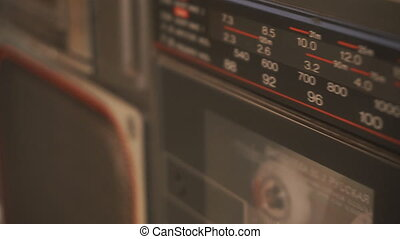 old cassette player close-up - big old cassette player with...